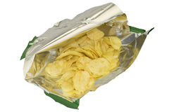 Abriu um saco das microplaquetas Fotos de Stock