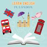 Abroad Language School flat design. Abroad Language School. Studying foreign languages concept. Open book with hand drawn England flag and english symbols. Flat Royalty Free Stock Image