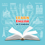 Abroad Language School. Studying foreign languages concept. Vector illustration Stock Photo