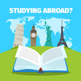 Abroad studying foreign languages concept. Colorful travel vector flat style illustration. Abroad studying foreign languages concept. Colorful travel flat style Stock Photography