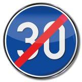 Abrogue el límite de velocidad 30 kilómetros stock de ilustración
