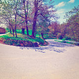Abrupt Bend. In the Asphalt Road in the Italian Alps, Instagram Effect stock photos