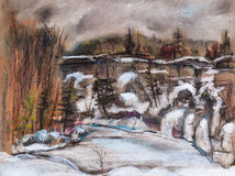 Abrupt breakage. Winter landscape with small river and the abrupt coast sprinkled with snow royalty free illustration