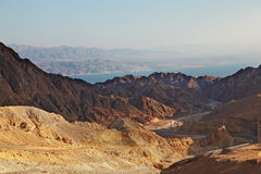 Abrupt and dangerous road to mountains. Of Eilat. Coast of Red sea royalty free stock photography