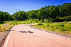 Abrupt turn on sports track. In hot summer day royalty free stock photos