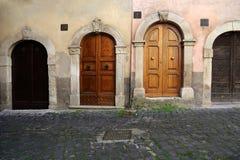 Abruzzo. Ancient doors  view  in Tagliacozzo Stock Photos