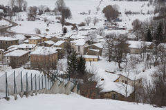 Abruzzo village covered by snow Stock Photos