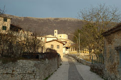 Abruzzo Village In A Winter Sunset Royalty Free Stock Image