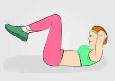 Молодая кавказская белая женщина делая хрусты Женщина делая тренировку фитнеса для верхнего и более низкого abs на поле Искусство иллюстрация вектора