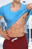 Abs abdominal muscles six pack bodybuilder bodybuilding gym port Royalty Free Stock Photos