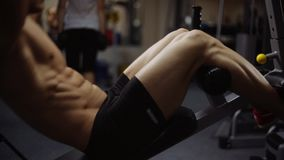 Abs crunches on bench stock video