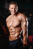 ABS di mostra di modello di addominali scolpiti di forte forma fisica atletica dell'uomo Immagini Stock