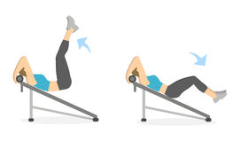 Abs exercise for women. Abs exercise for women on white background. Crossfit and fitness. Workout on bench Stock Photos