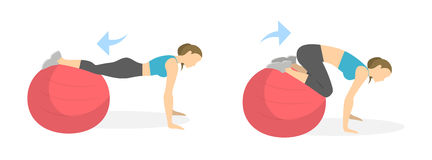 Abs exercise for women. Abs exercise for women on white background. Crossfit and fitness. Workout on fit ball Stock Photos
