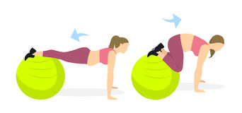Abs exercise for women. Abs exercise for women on white background. Crossfit and fitness. Workout on fit ball. Exercise for fat women Royalty Free Stock Photos