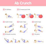 Abs exercises set. Isolated workout training for ab muscles for women on white background Royalty Free Stock Photo