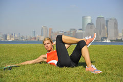 Abs Strength Exercise in Urban Park Royalty Free Stock Photography