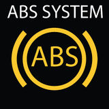ABS system. Single yellow flat icon on black background. Vector illustration. Warning dashboard signs. Vector illustration representing icon of car dashboard Royalty Free Stock Photo