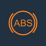 ABS vector illustration. ABS icon. Brakes antilock system sign. Linear outline icon on white background. Vector Stock Photos