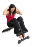 Abs workout on a bench Stock Image