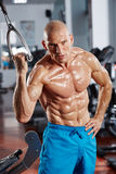Abs workout in the gym. Athletic man doing abs workout in the gym Stock Photo