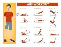 ABS workout for men. Exercise for perfect body. ABS workout for men. Sport exercise for perfect abs. Fit body and healthy lifestyle. Muscle training. Isolated royalty free illustration