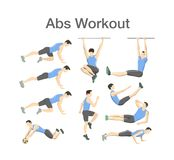 ABS workout for men. Sport exercise for perfect body. ABS workout for men. Sport exercise for perfect abs. Fit body and healthy lifestyle. Muscle training Royalty Free Illustration