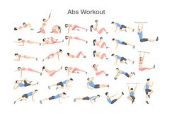ABS workout for men and women. Sport exercises. ABS workout for men and women. Sport exercise for perfect abs. Fit body and healthy lifestyle. Muscle training stock illustration