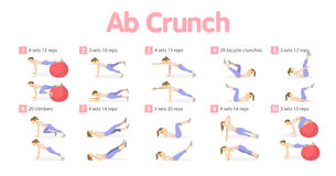 Abs workout set. Isolated exercises illustrations on white background Royalty Free Stock Photos