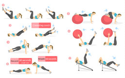 Abs workout for women. Woman in sport outfit doing abs exercises in gym. All kinds of abdominal training Royalty Free Stock Photos
