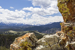 High mountain Absaroka Range. The Absaroka and Beartooth Range of the western central Rocky Mountains exhibit their rough, rugged and rocky terrain while Stock Image