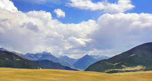 Absaroka Panorama. Beautiful Absaroka Mountains can be seen from the floor of Paradise Valley in Montana Stock Photo