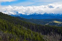 The Absaroka Range from Scenic Highway 296, Wyoming royalty free stock photo