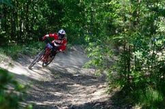 Abschüssiger mountainbike Reiter Lizenzfreie Stockbilder