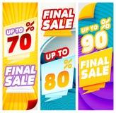 Abschließende Verkaufsfahnen Fahnenschablonen Lizenzfreie Stockfotos