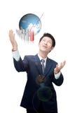 Abschließende Zieleinheit des asiatischen Geschäftsmannes stockbild