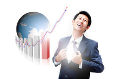 Abschließende Zieleinheit des asiatischen Geschäftsmannes stockfoto