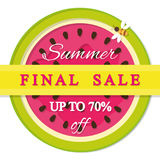 Abschließender Verkaufsaufkleber des Sommers Bunte Ikone der Wassermelone eingeschlossen Lizenzfreie Stockfotos