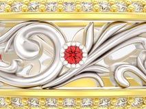 Abschluss der Illustration 3D herauf Gold und Silber schellen mit Kurve heraus Orn Stockfotos