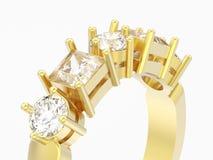 Abschluss der Illustration 3D herauf Golddekorativen Ring mit unterschiedlichem rou Lizenzfreie Stockfotografie