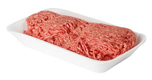 Abschluss des gehackten Fleisches oben Stockfoto