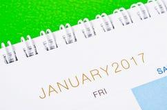 Abschluss des Tischplattenkalenders im Januar 2017 oben Stockfoto