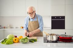 Abschluss herauf beschäftigtes Graues des Fotos behaart genießt er sein er der Großvater, der kochenden köstlichen Tellerprozeß d lizenzfreie stockfotos
