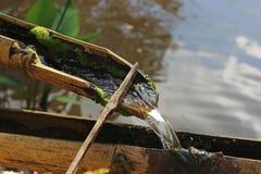 Abschluss herauf den Fluss fließt Bambus durch, um sich ruhig und entspannt zu fühlen lizenzfreies stockbild