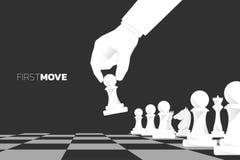 Abschluss herauf die Handbewegungs-Pfandschachfigur, zum des Spiels zu beginnen stock abbildung