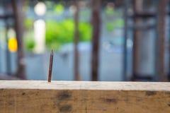 Abschluss herauf einen rostigen Nagel durchbohren die Klotz Gefährlich vom hölzernen Nagel auf dem Bauholz Stockfotografie