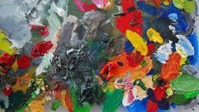 Abschluss herauf multi Farbe auf Acrylfarbpalette stockfoto