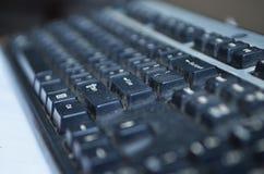 Abschluss herauf schmutzige Tastatur, unhygienische Ausrüstung im Haus oder Büro stockbild
