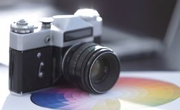 Abschluss oben Alter Retro- Sowjet der Filmkamera 35mm stockfotografie