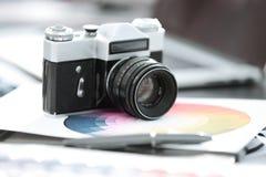 Abschluss oben Alter Retro- Sowjet der Filmkamera 35mm lizenzfreie stockbilder